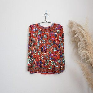 Vintage red party sequin long sleeve top